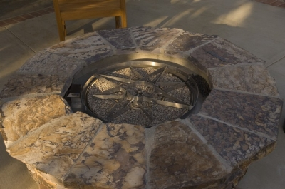 Natural Gas Fire pit with cookie cutter star design