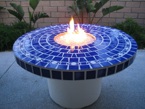 Fire Table with center firepit fireglass