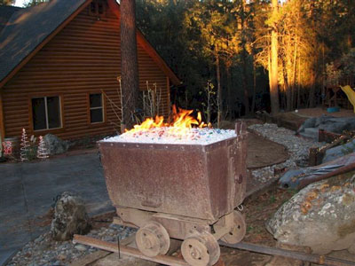 mining car propane fire pit