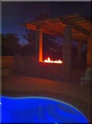 poolside outdoor fire pit